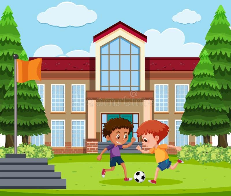 Muchachos que juegan a fútbol en la tierra de escuela stock de ilustración