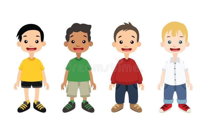 Muchachos que se colocan con diverso ejemplo del vector de los equipos libre illustration