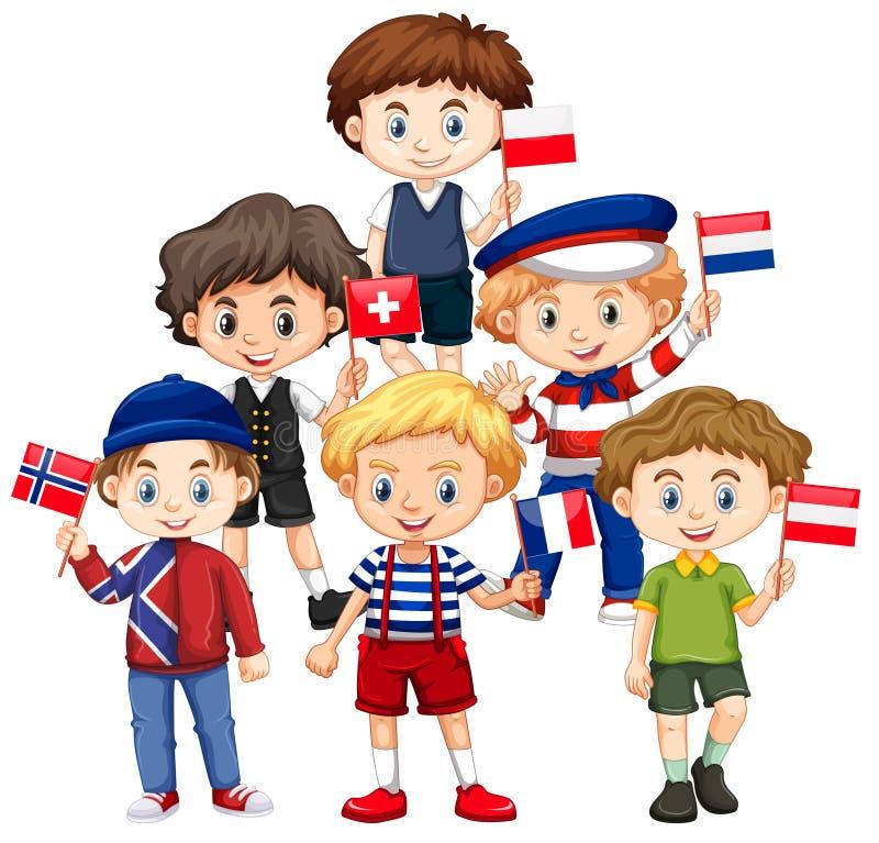 Muchachos que sostienen banderas de los países diferentes ilustración del vector