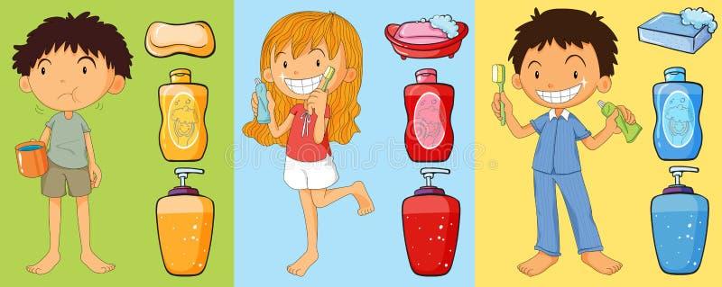 Muchachos y dientes de cepillado de la muchacha ilustración del vector