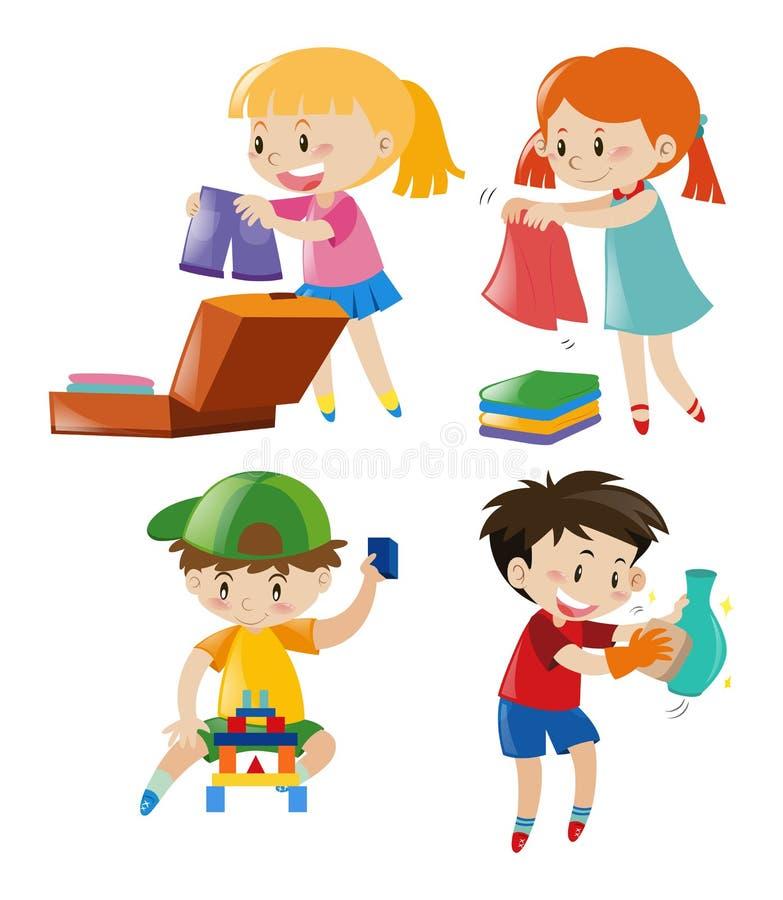 Muchachos y muchachas en diversas acciones stock de ilustración