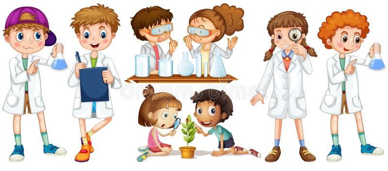 Muchachos y muchachas en vestido de la ciencia stock de ilustración