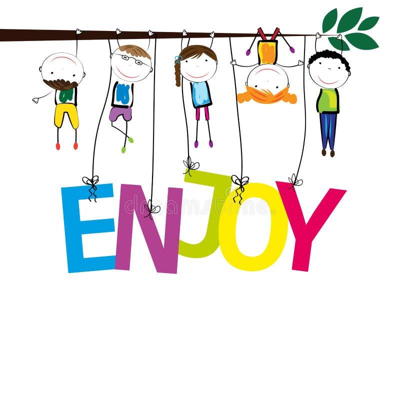 muchachos y muchachas felices stock de ilustración