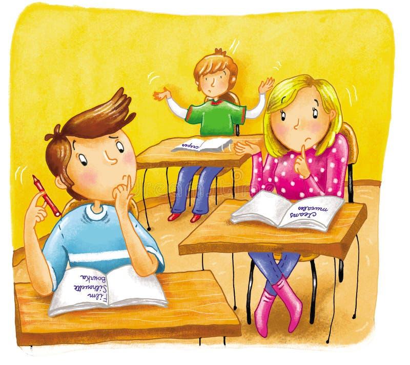 Muchachos y muchachas a la escuela ilustración del vector