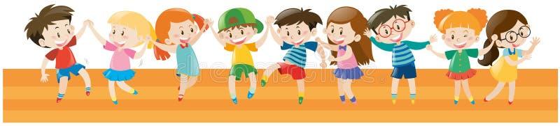 Muchachos y muchachas que bailan junto stock de ilustración