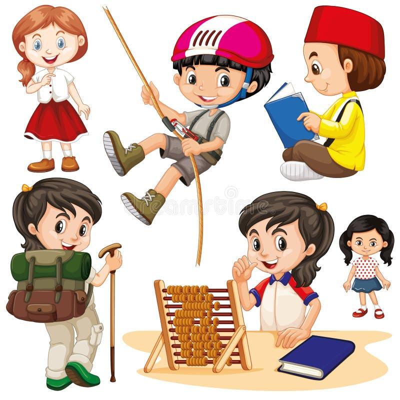 Muchachos y muchachas que hacen diversas acciones ilustración del vector