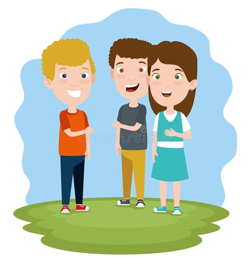 Muchachos y niños lindos de la muchacha con ropa ilustración del vector