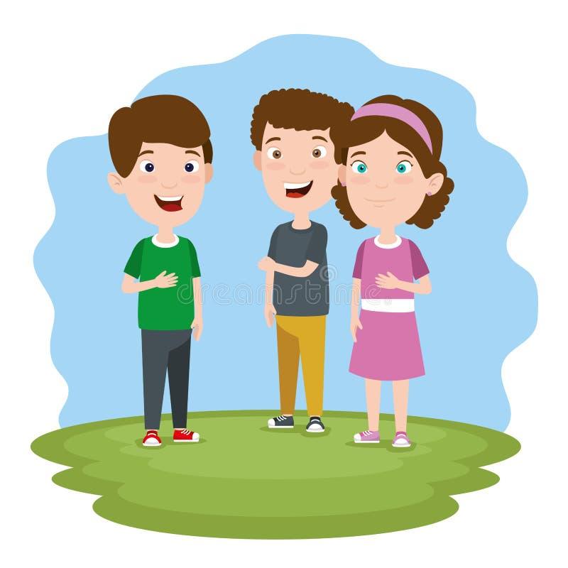 Muchachos y niños lindos de la muchacha con ropa en el paisaje libre illustration
