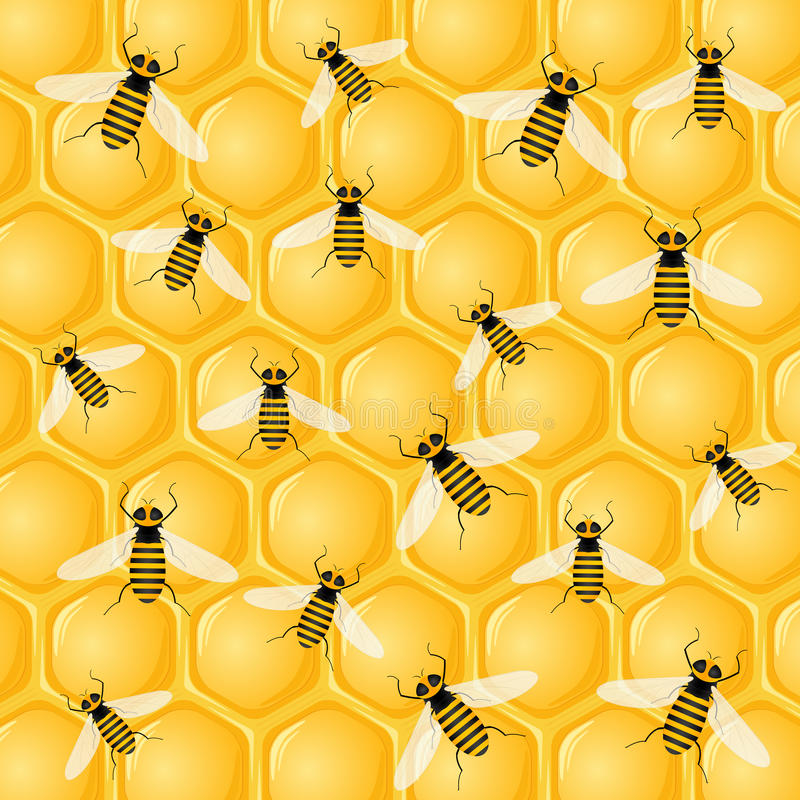 Muchas abejas en el panal stock de ilustración