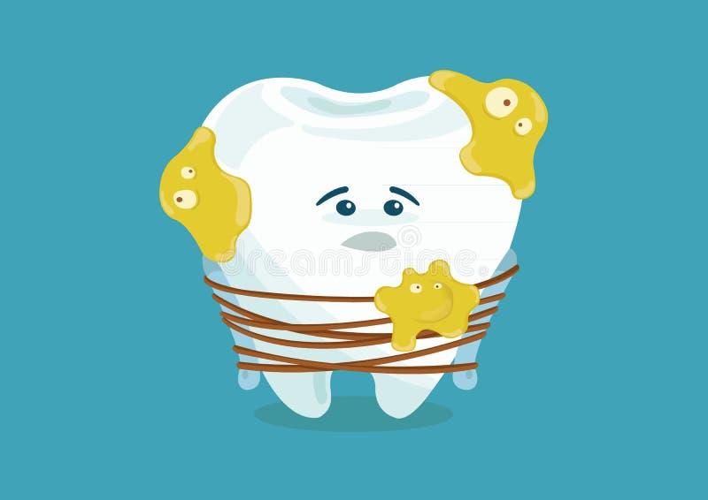 Muchas bacterias hacen el diente triste stock de ilustración
