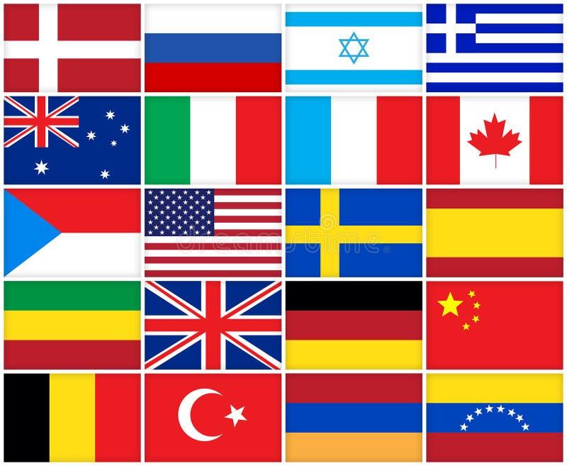 Muchas banderas de los países diferentes stock de ilustración