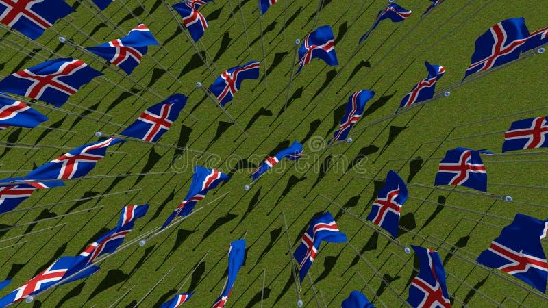Muchas banderas nacionales de la Islandia que agita en el viento en campo verde ilustración del vector