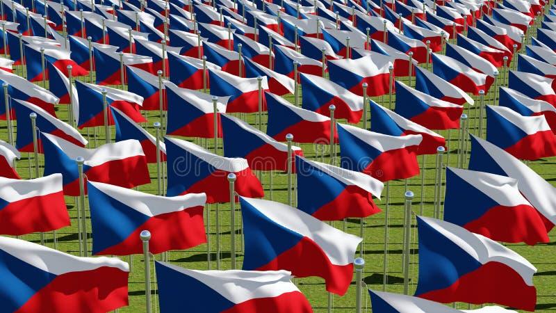 Muchas banderas nacionales de la República Checa en campo verde ilustración del vector
