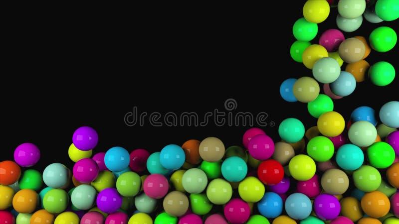 Muchas bolas brillantes coloridas del extracto caen, 3d rinden el fondo generado por ordenador libre illustration
