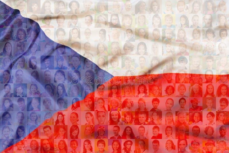 Muchas caras diversas en bandera de la República Checa ilustración del vector