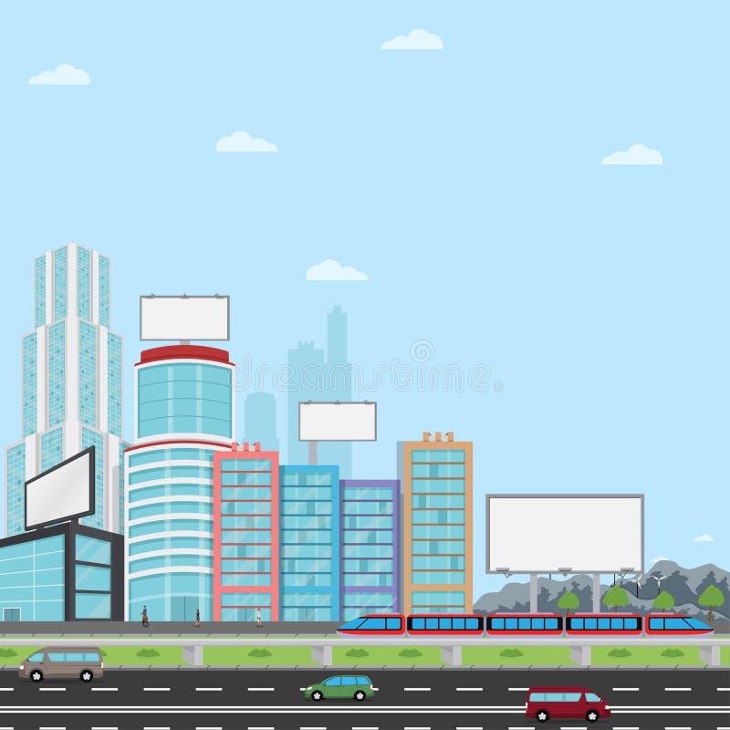 Muchas carteleras urbanas en blanco con para su publicidad stock de ilustración