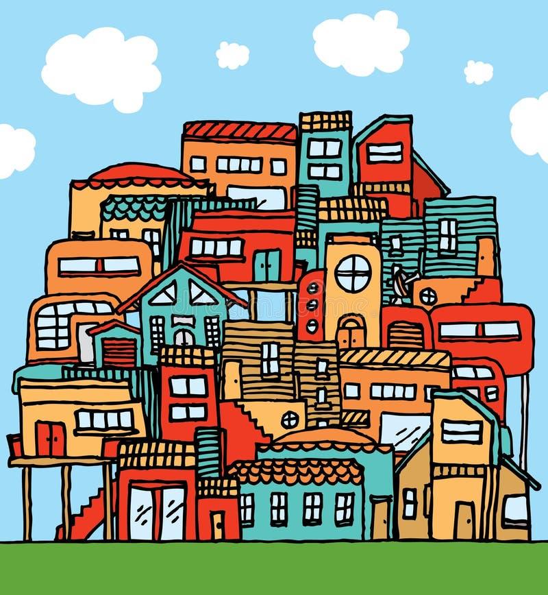 Muchas casas/comunidad apretada colorida stock de ilustración