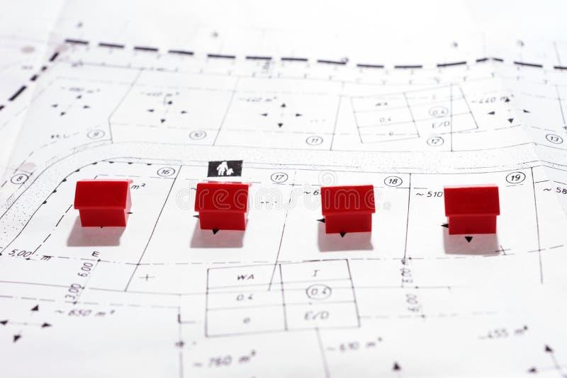 Muchas casas en el plan de tierra imagen de archivo