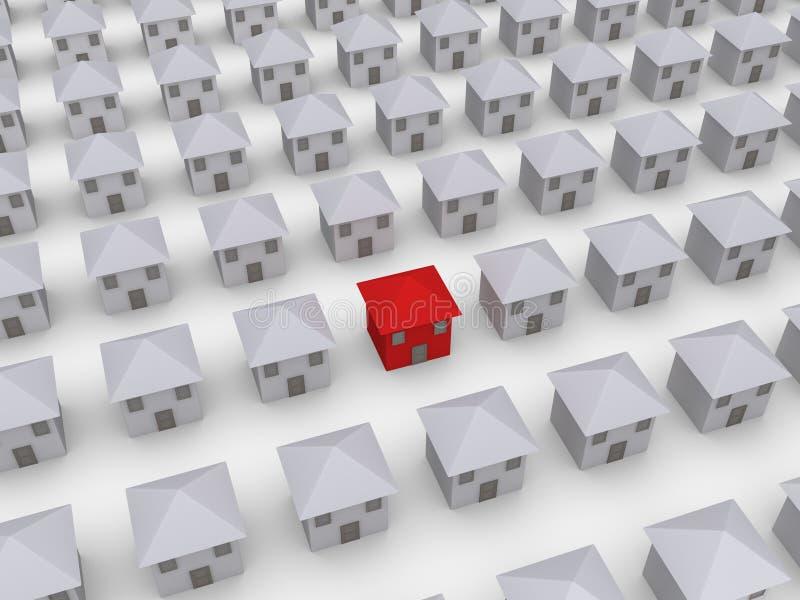 Muchas casas pero una es diferentes ilustración del vector