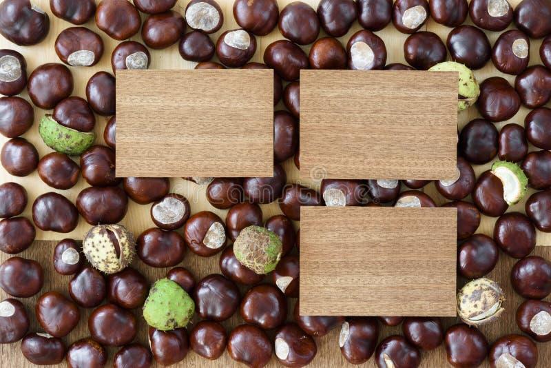 Muchas castañas y tres madera a imagen de archivo libre de regalías