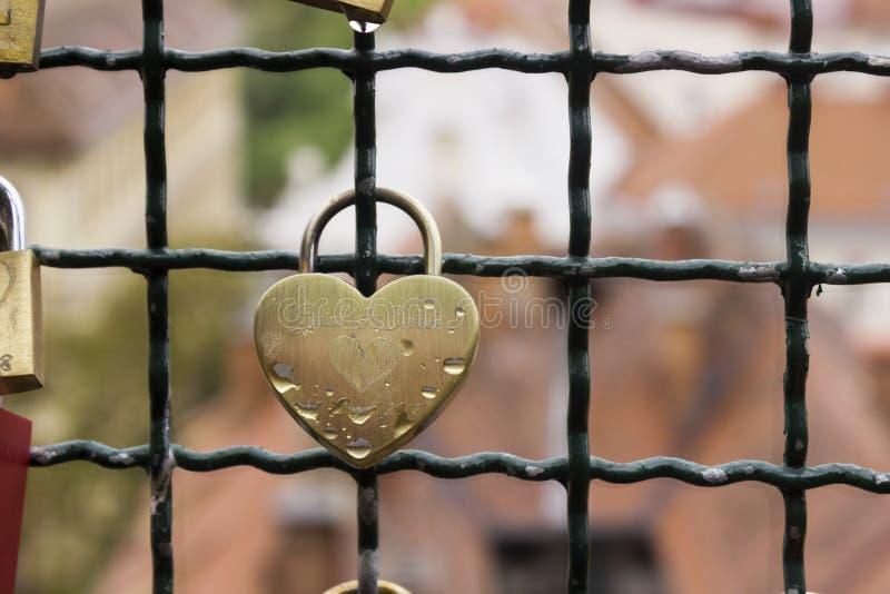 Muchas cerraduras sin llaves cuelgan una cerca cerca de la colina del castillo en el fondo de la ciudad de Graz, Austria Las cerr fotos de archivo libres de regalías