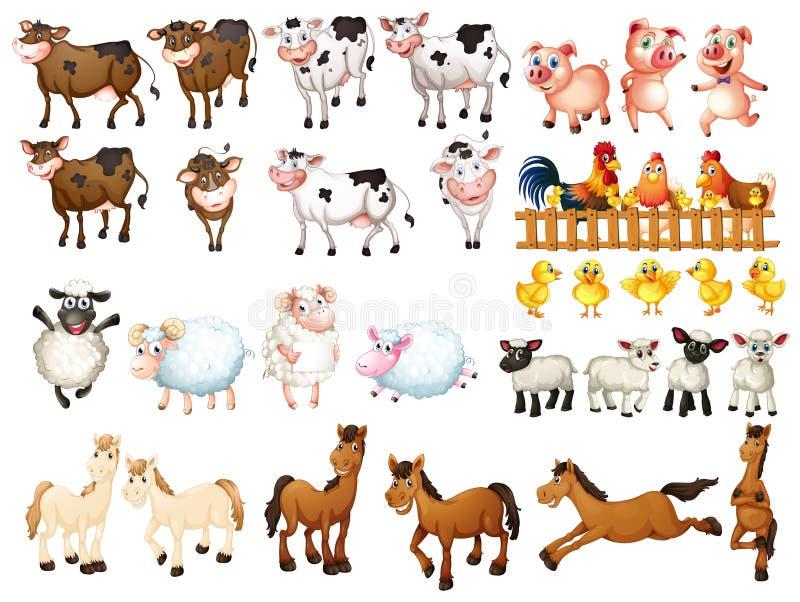 Muchas clases de animales del campo libre illustration