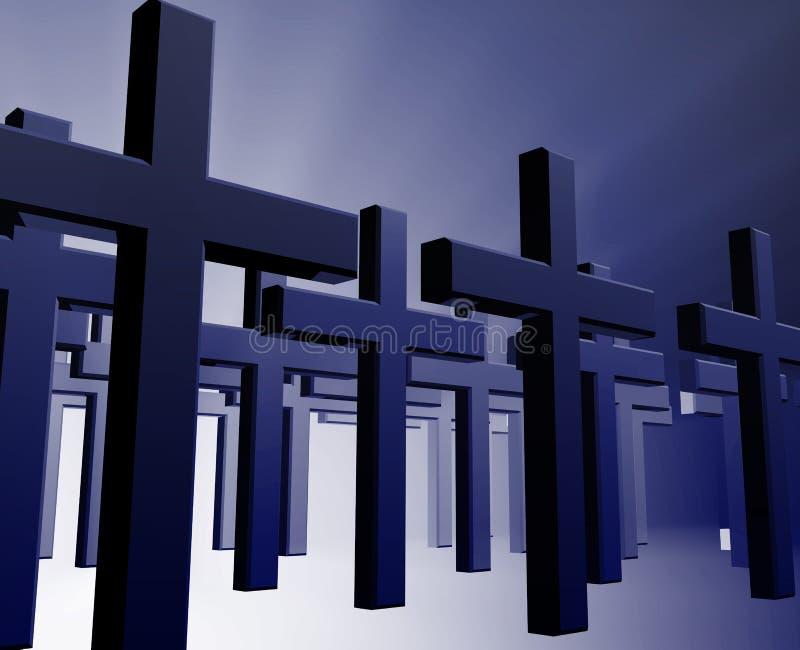 Muchas cruces del cristiano ilustración del vector