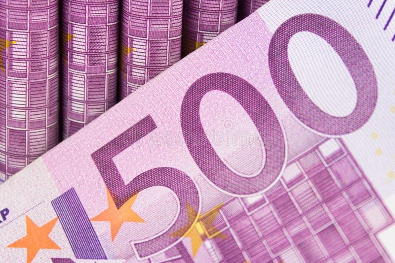 Muchas 500 cuentas EURO, concepto del dinero del efectivo imágenes de archivo libres de regalías