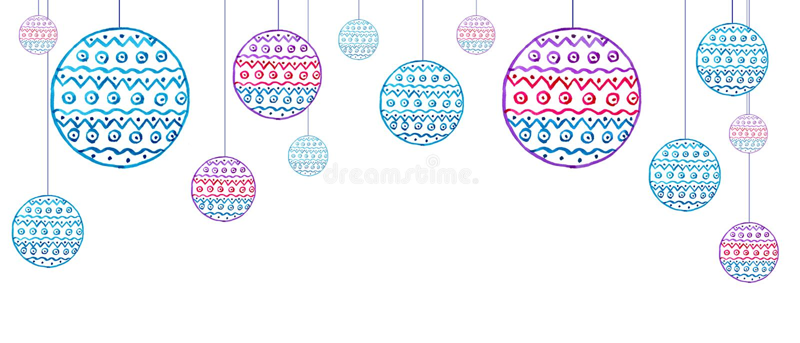 Muchas de decoraciones del árbol de navidad con la acuarela del modelo stock de ilustración