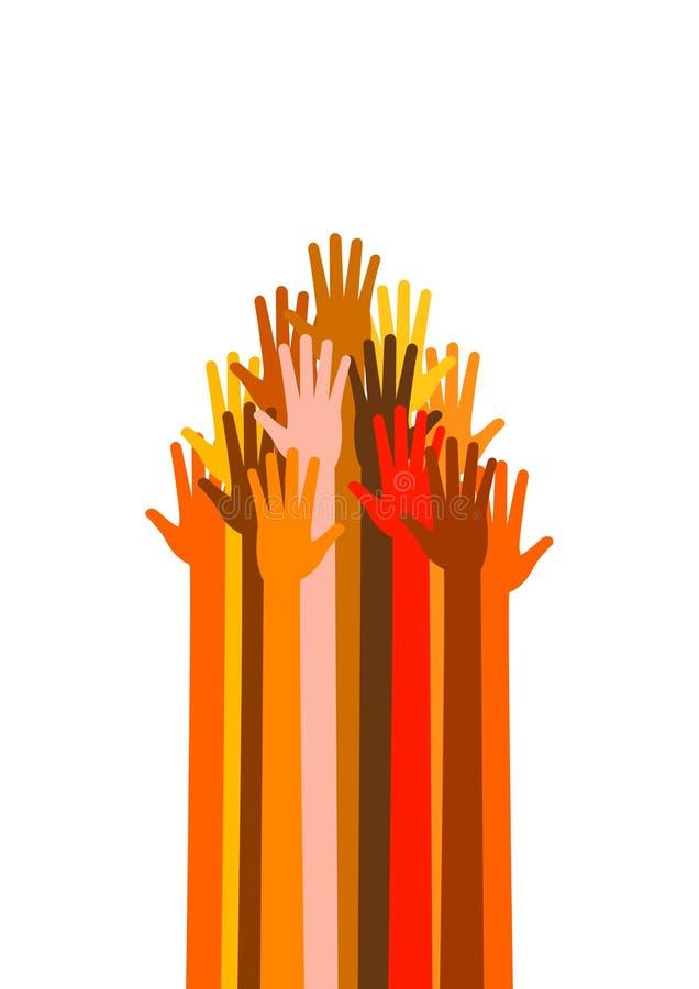Muchas diversas manos de las razas en la flecha forman ilustración del vector