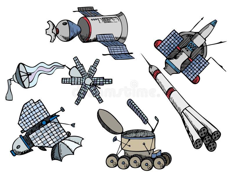 Muchas diversas naves espaciales del color, ilustración del vector