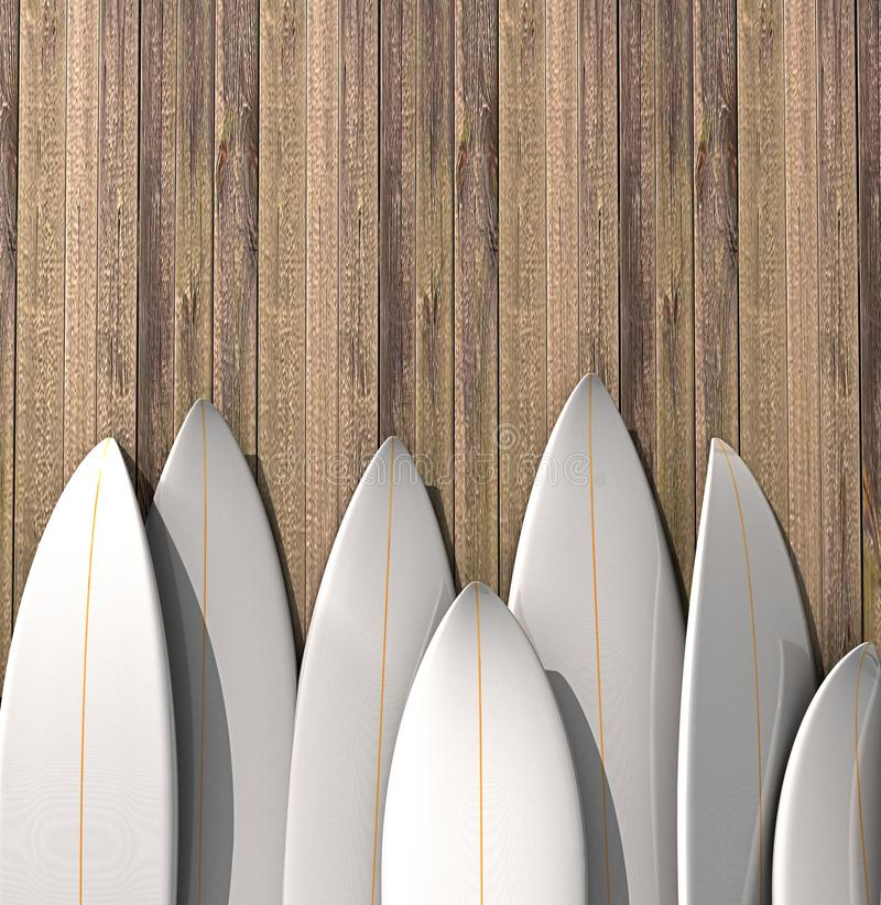 Muchas diversas tablas hawaianas en blanco que se colocan en fila en una pared de madera libre illustration