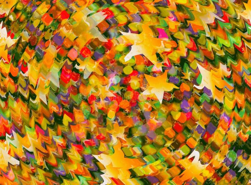 Muchas estrellas del extracto y fondo multicolor del bokeh de las rondas ilustración del vector
