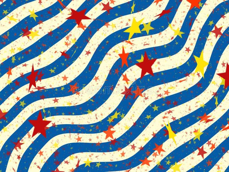 Muchas estrellas multicoloras de los fondos ondulados de las rayas sym del día de fiesta ilustración del vector