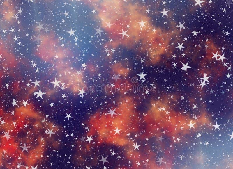 Muchas estrellas que vuelan en fondos soñadores de un cielo ilustración del vector