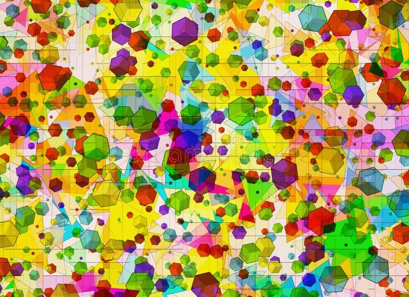 Muchas figuras geométricas abstractas multicoloras fondo stock de ilustración