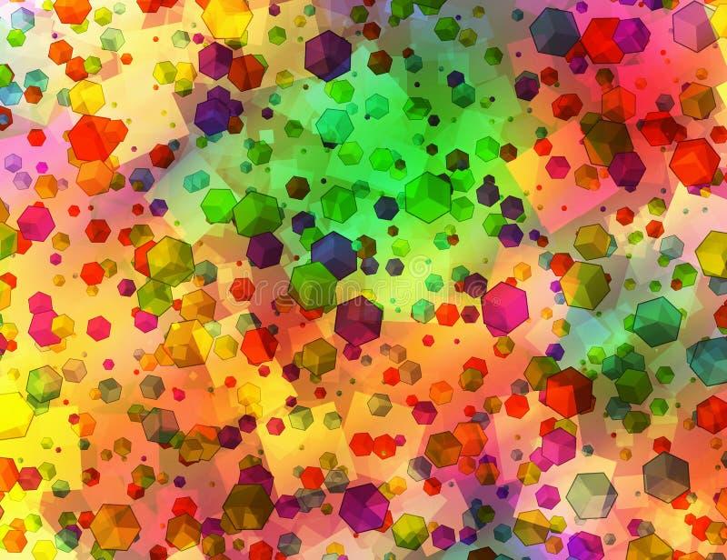 Muchas figuras geom?tricas abstractas multicoloras fondo ilustración del vector