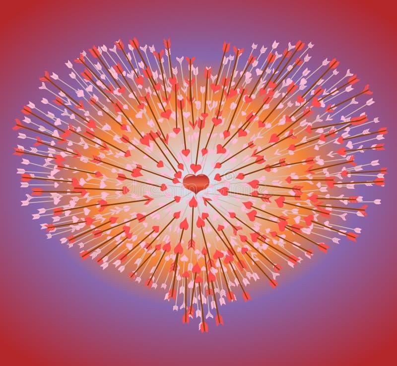 Muchas flechas que vuelan en el corazón stock de ilustración