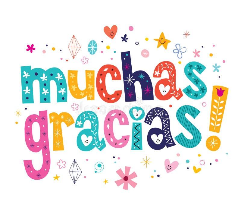 Muchas gracias wiele dzięki w hiszpańszczyzny karcie ilustracji