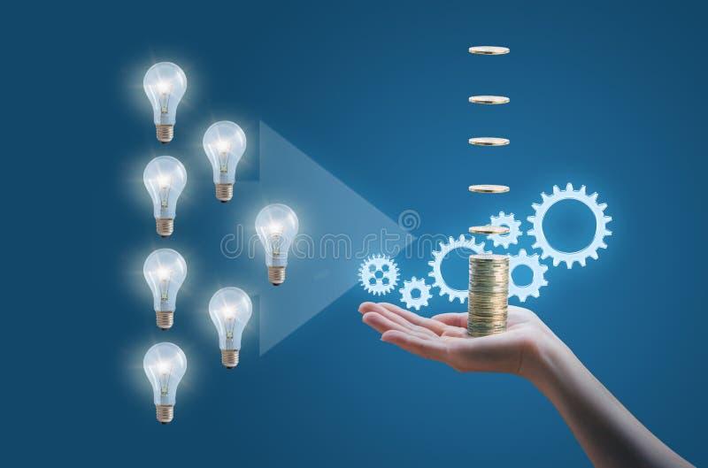 Muchas ideas del negocio proceden en un negocio eficiente y rentable imagenes de archivo