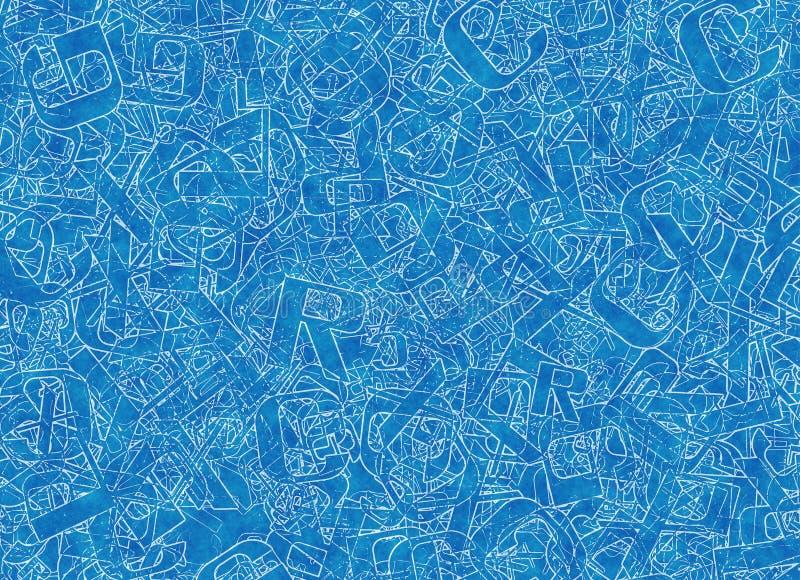 Muchas letras azules abstractas mezcladas del alfabeto ilustración del vector