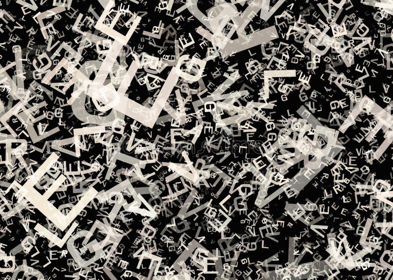 Muchas letras grises caóticas abstractas del alfabeto stock de ilustración