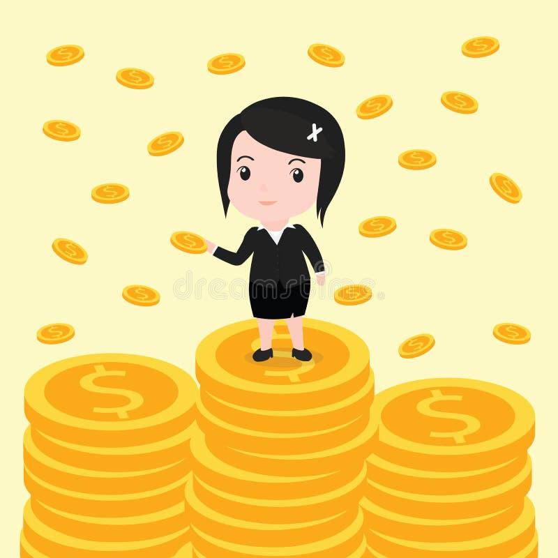 Muchas monedas, mujer de negocios tienen muchas monedas ilustración del vector