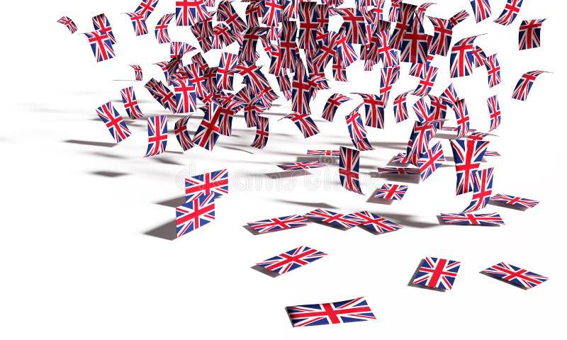 Muchas notas y banderas de Gran Bretaña que cae abajo a la tierra imagen de archivo