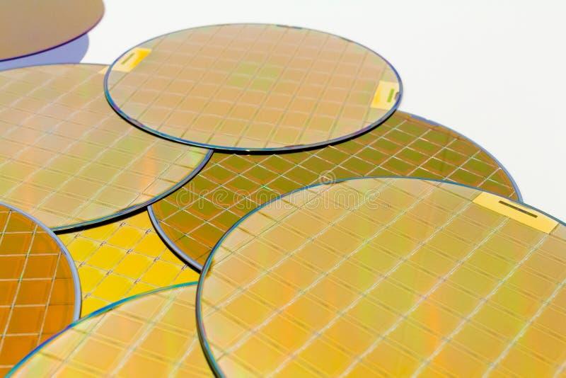 Muchas obleas de silicio tres tipos - wafes del color oro con los microchipes foto de archivo