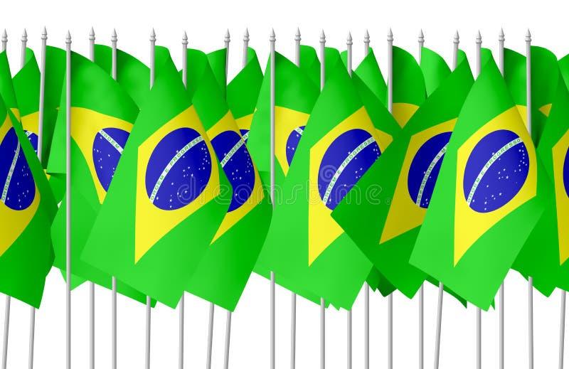 Muchas pequeñas banderas brasileñas en fila aislaron inconsútil ilustración del vector