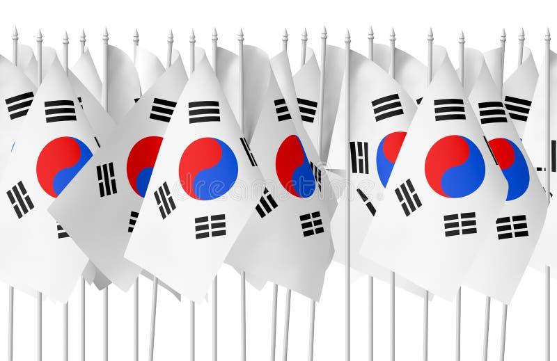 Muchas pequeñas banderas coreanas inconsútiles stock de ilustración