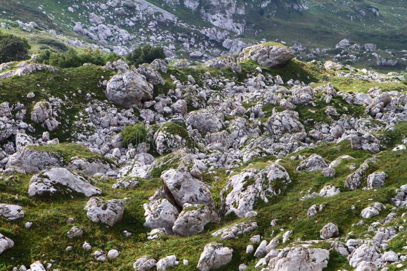 Muchas piedras grandes en una cuesta de montaña, foto natural de la textura foto de archivo libre de regalías
