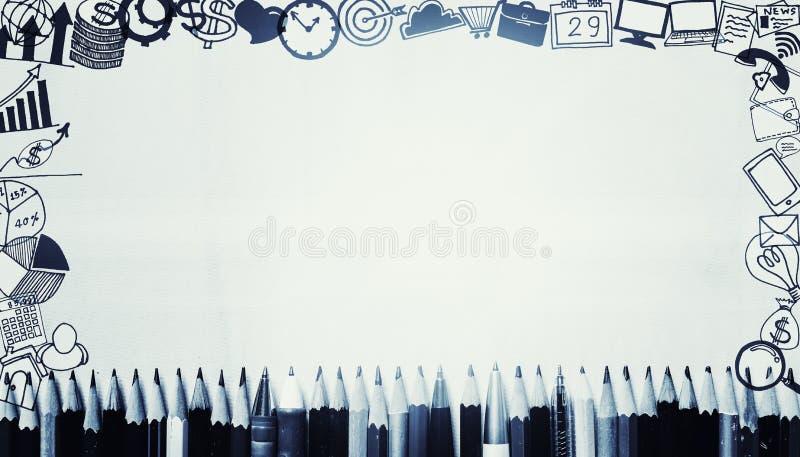 Muchas plumas y lápices con los iconos del dibujo del negocio alrededor de la frontera ilustración del vector
