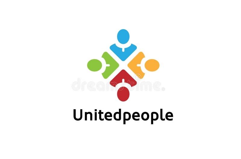 Muchedumbre abstracta colorida creativa Logo Design Illustration de cuatro personas libre illustration